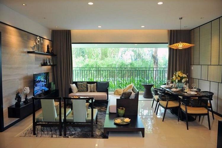 Phòng khách căn hộ mẫu dự án The View Riviera Point